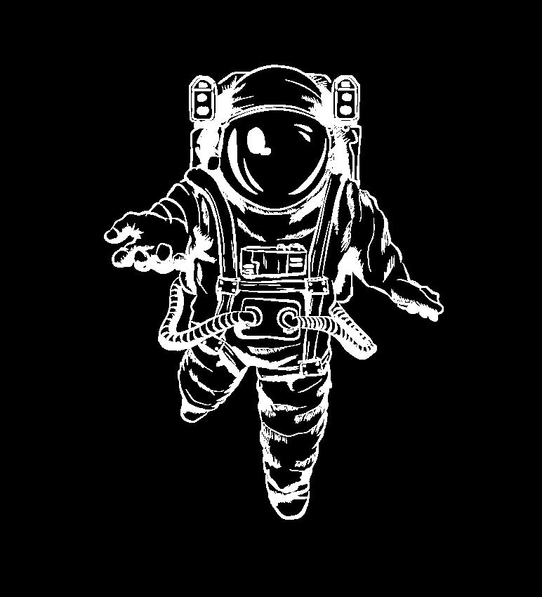 Illustrative Zeichnung eines Astronauten mit einladender Geste