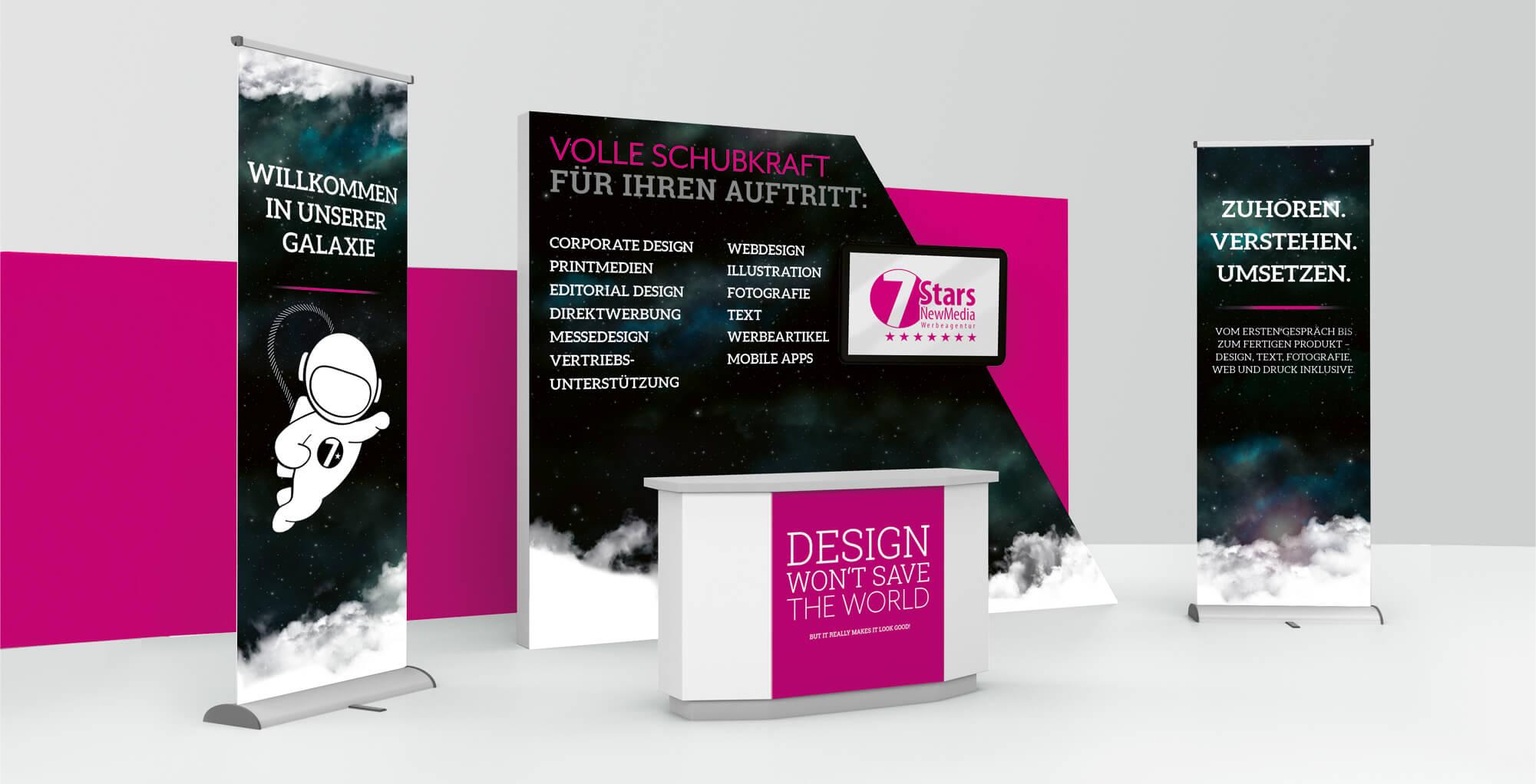 Gestaltungsbeispiel für den Bereich Messedesign / Messestand 7Stars
