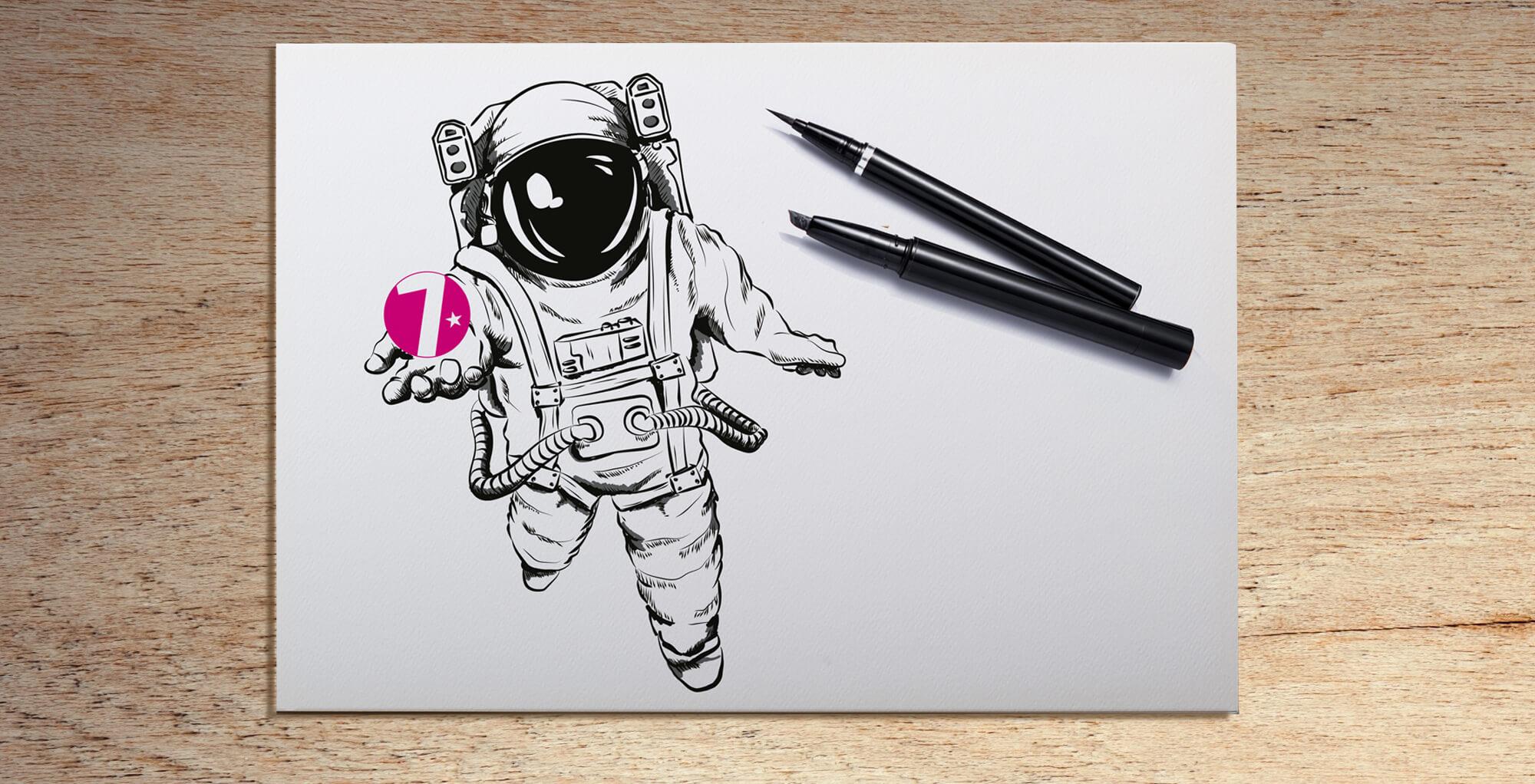 Gestaltungsbeispiel für den Bereich Illustratives Design / Illustration eines Astronauten