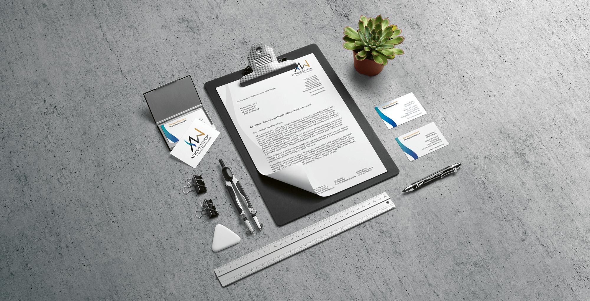 Gestaltungsbeispiel für den Bereich Corporate Design / Briefpapier, Visitenkarten, Logo