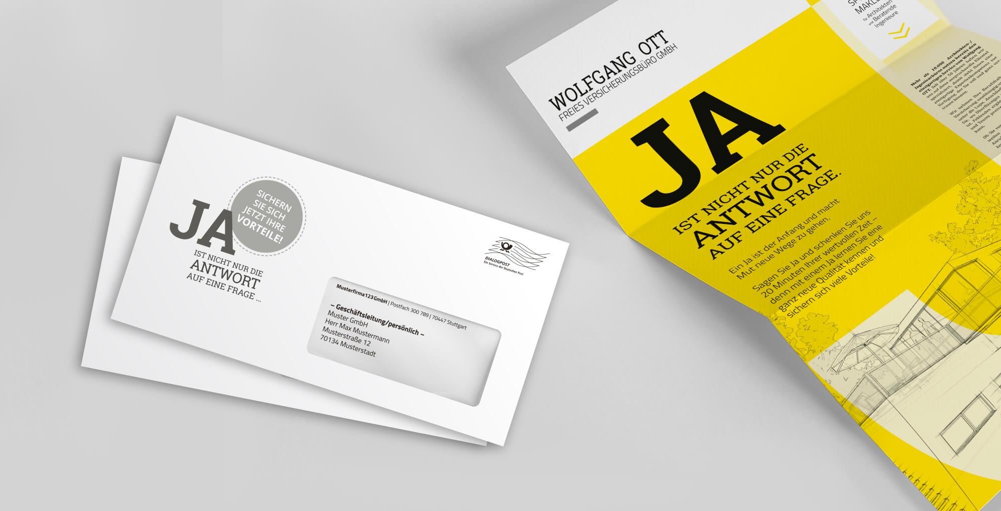 Gestaltungsbeispiel für den Bereich Direktwerbung / Mailing