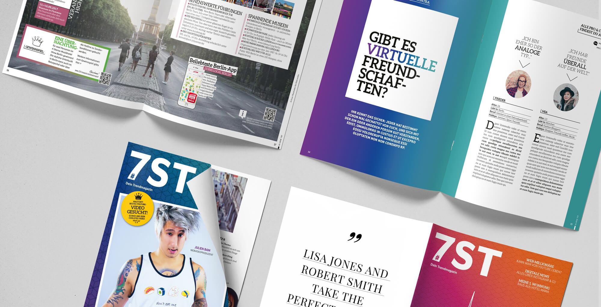 Gestaltungsbeispiel für den Bereich Editorial Design / Gestaltung eines Magazins